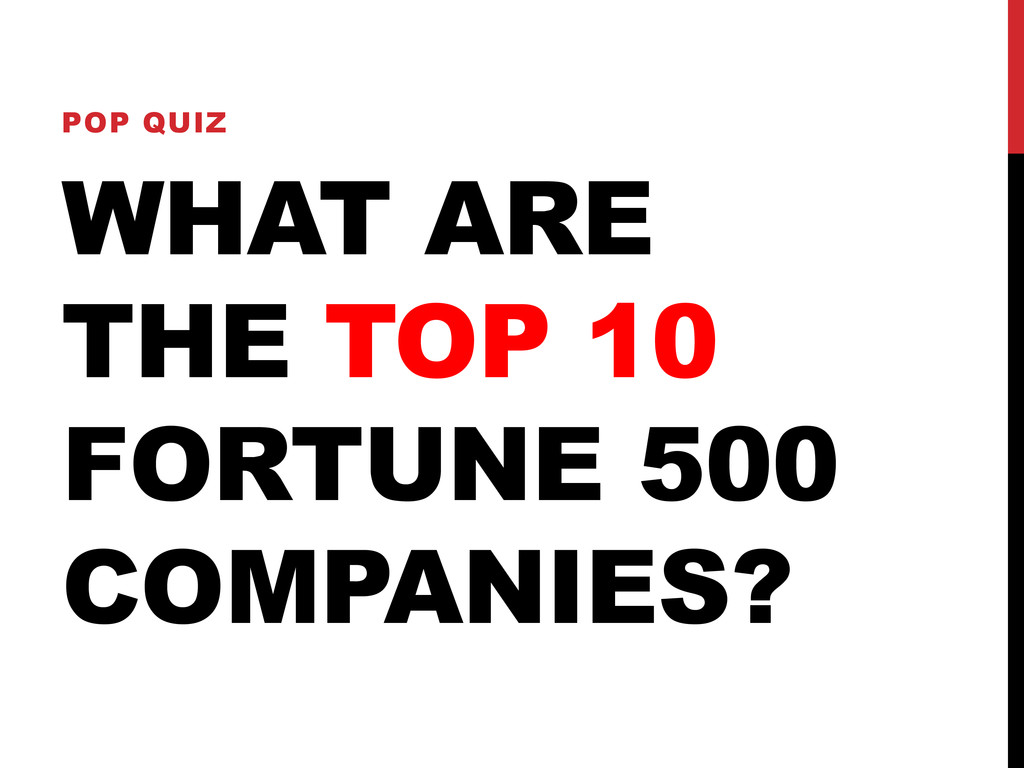 WHAT ARE THE TOP 10 FORTUNE 500 COMPANIES? POP ...
