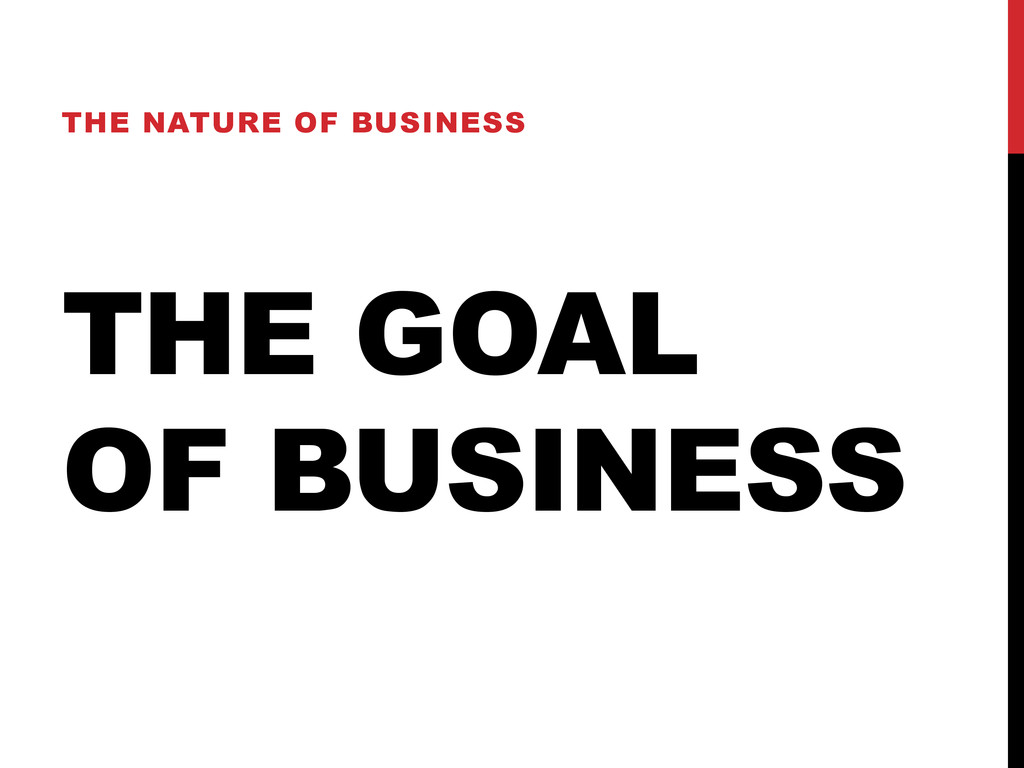 THE GOAL OF BUSINESS THE NATURE OF BUSINESS