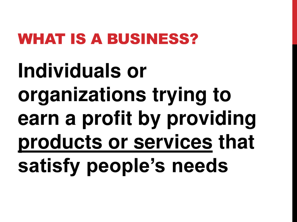 WHAT IS A BUSINESS? Individuals or organization...