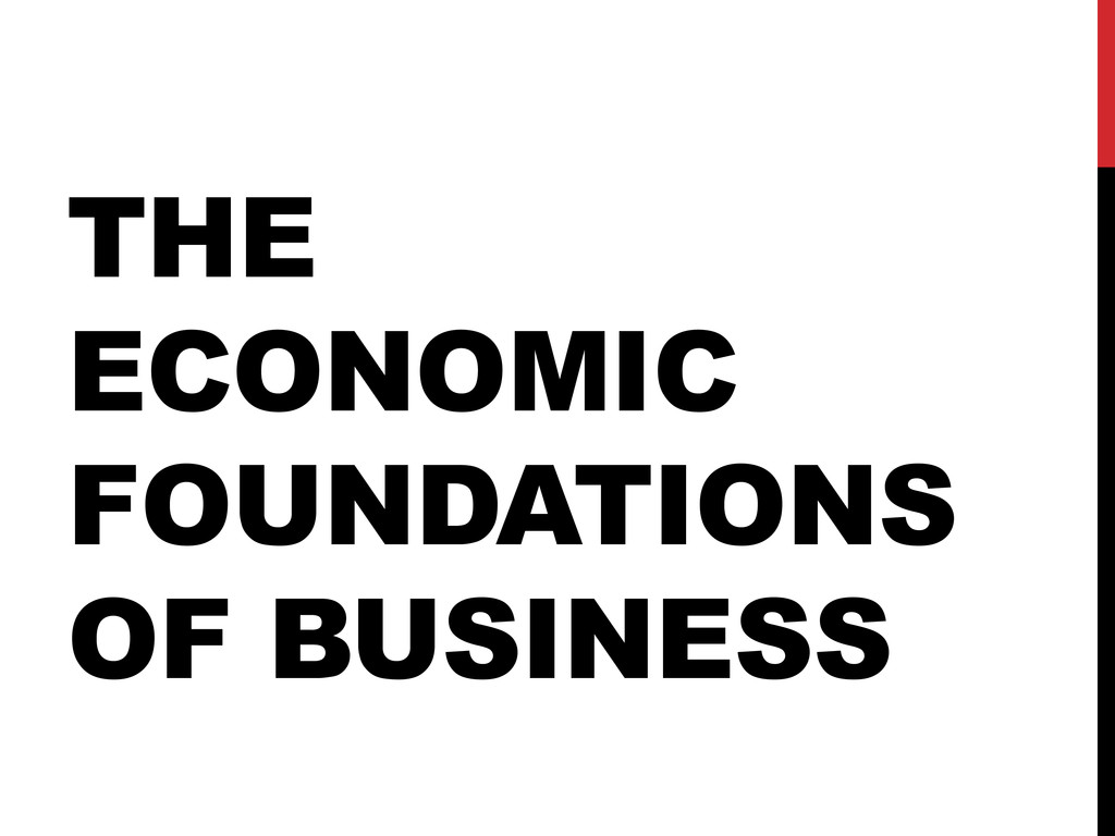 THE ECONOMIC FOUNDATIONS OF BUSINESS