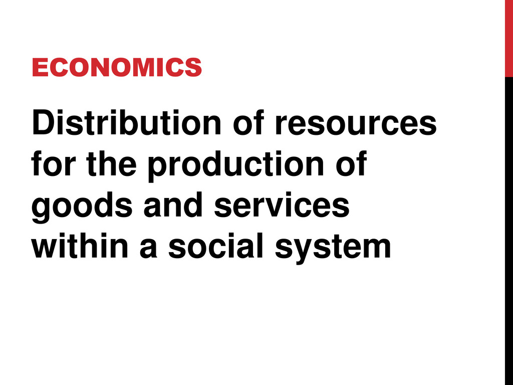 ECONOMICS Distribution of resources for the pro...