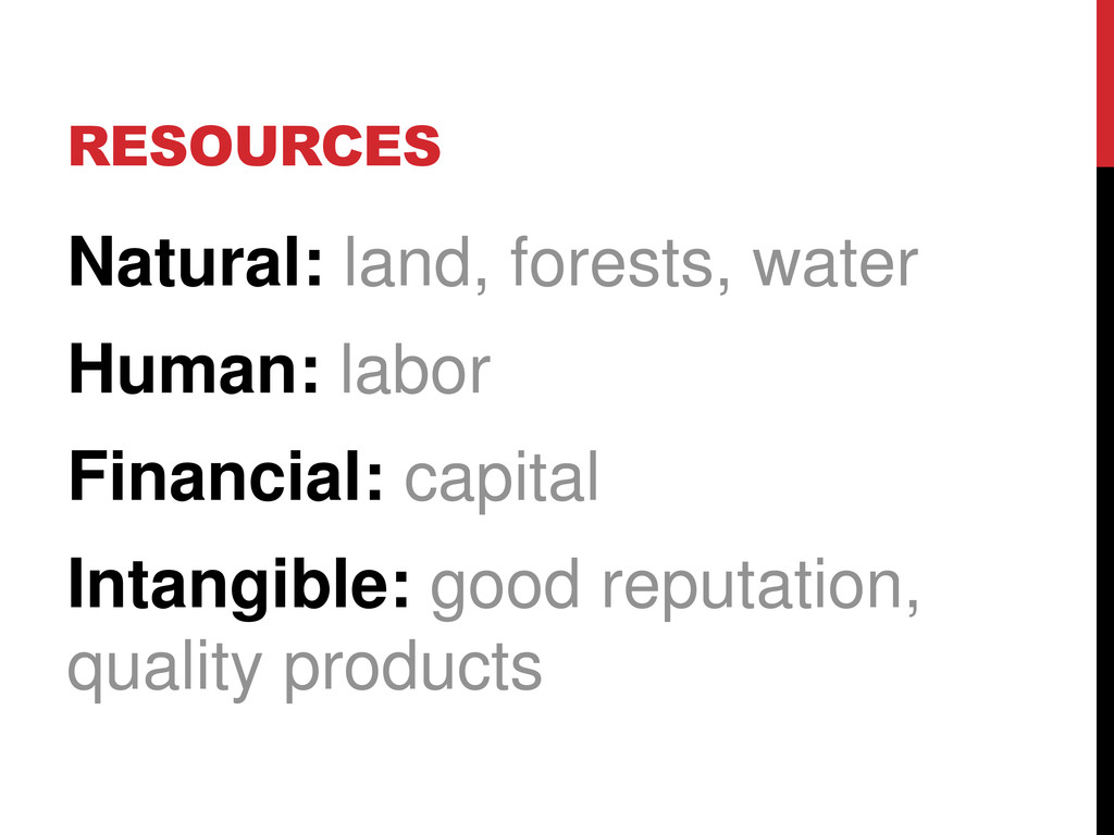 RESOURCES Natural: land, forests, water Human: ...