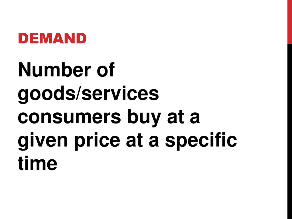 DEMAND Number of goods/services consumers buy a...