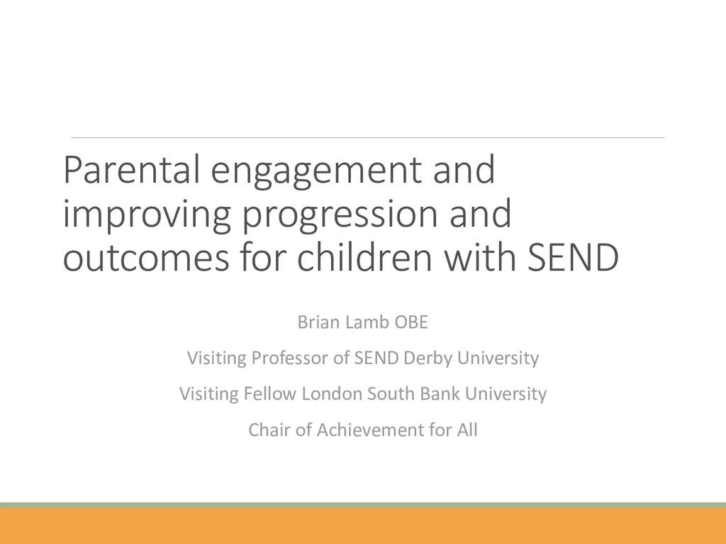 Parental engagement and improving progression a...