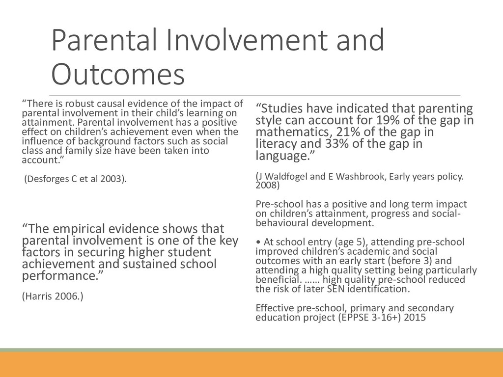 """Parental Involvement and Outcomes """"There is rob..."""
