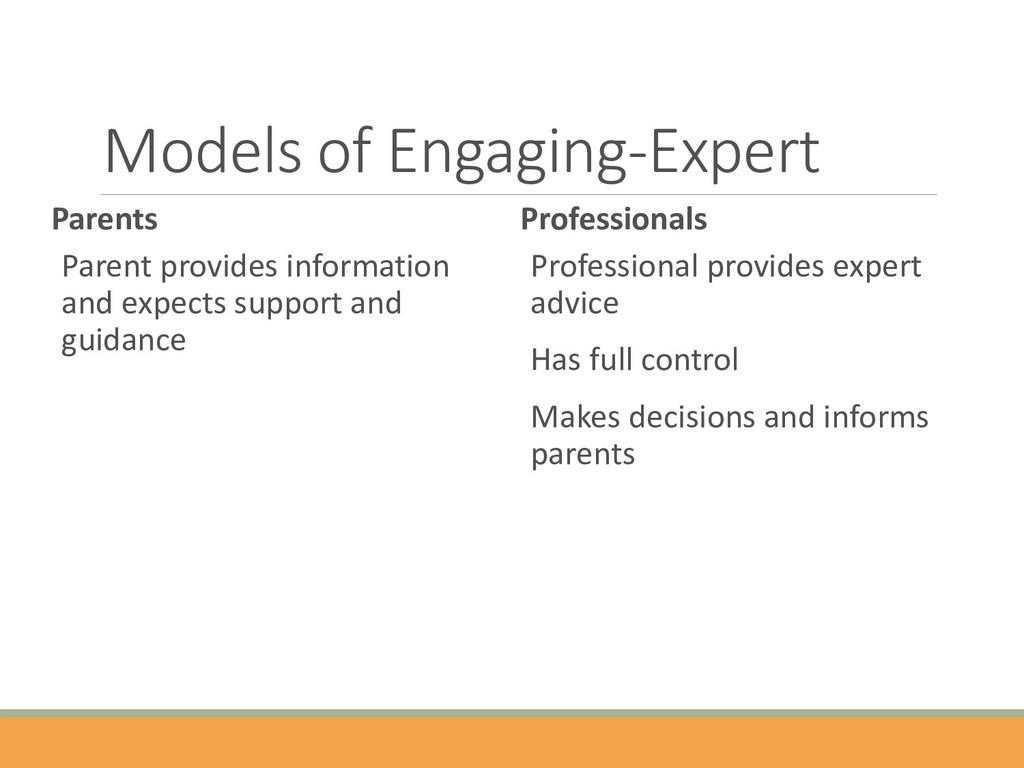 Models of Engaging-Expert Parents Parent provid...
