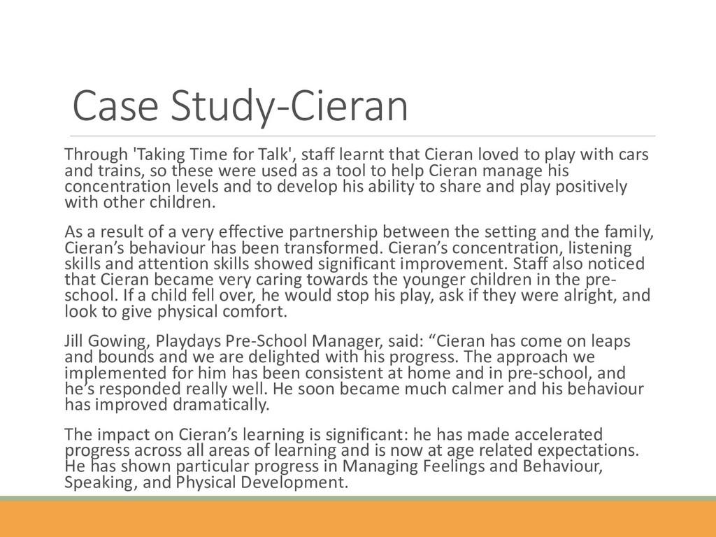 Case Study-Cieran Through 'Taking Time for Talk...