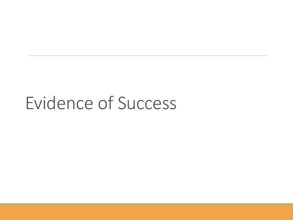 Evidence of Success