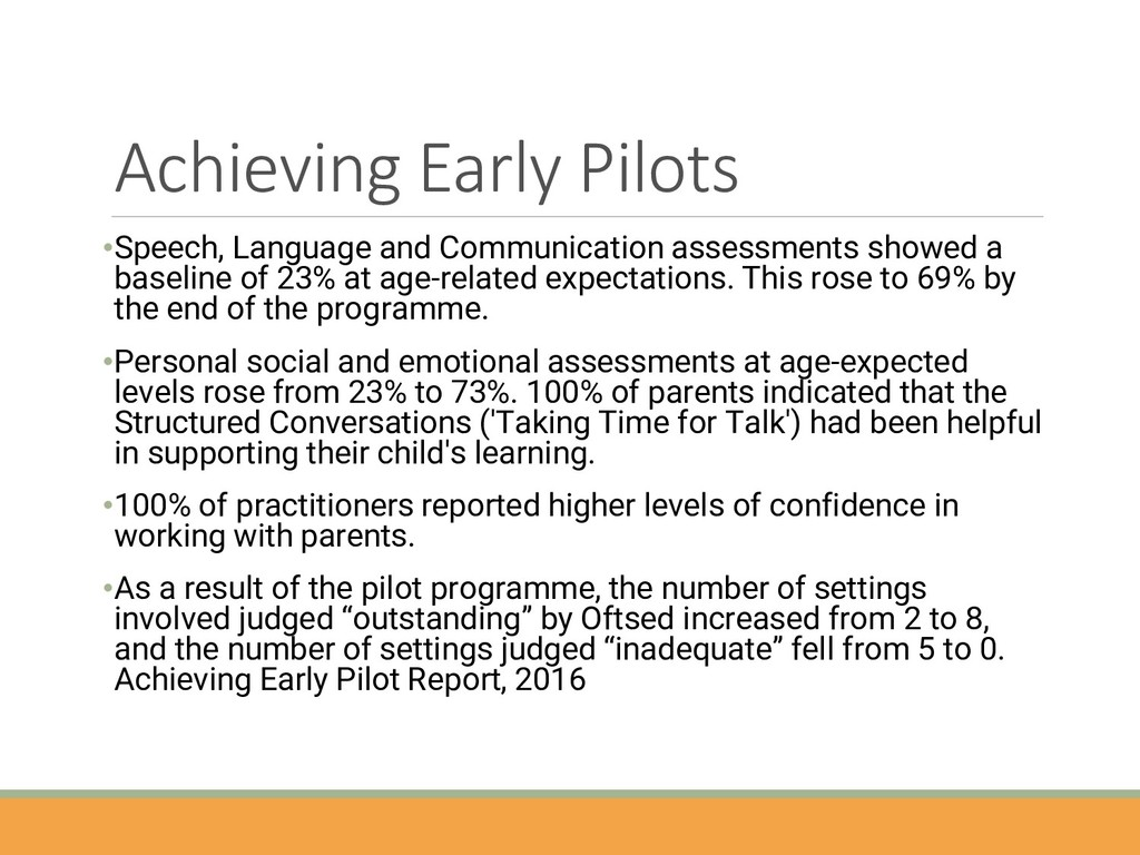 Achieving Early Pilots •Speech, Language and Co...