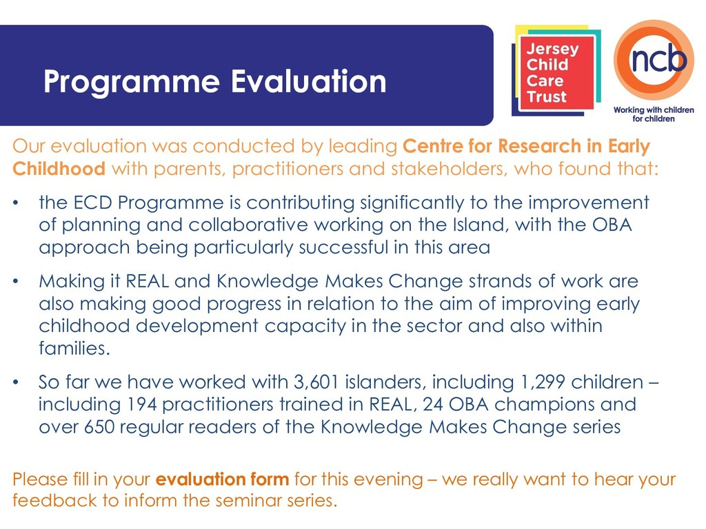 Programme Evaluation Our evaluation was conduct...