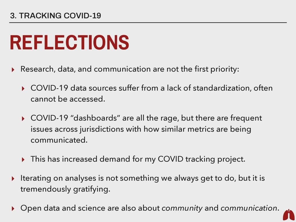 3. TRACKING COVID-19 REFLECTIONS ▸ Research, da...
