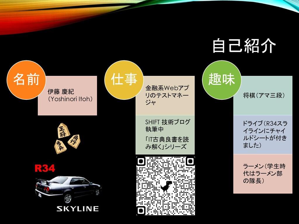 自己紹介 伊藤 慶紀 (Yoshinori Itoh) 名前 金融系Webアプ リのテストマネ...