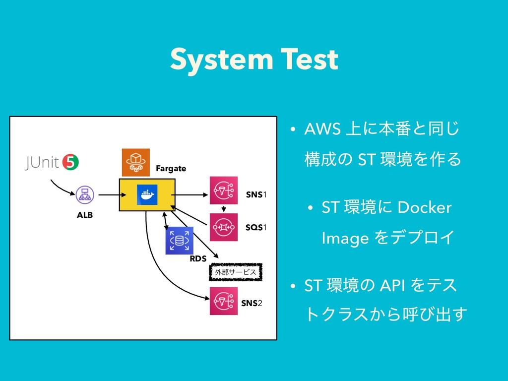 System Test • AWS ্ʹຊ൪ͱಉ͡ ߏͷ ST ڥΛ࡞Δ • ST ڥʹ...