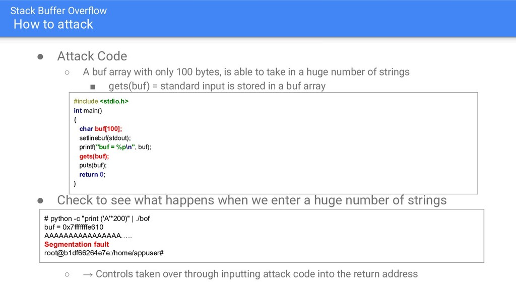 Stack Buffer Overflow How to attack ● Attack Cod...