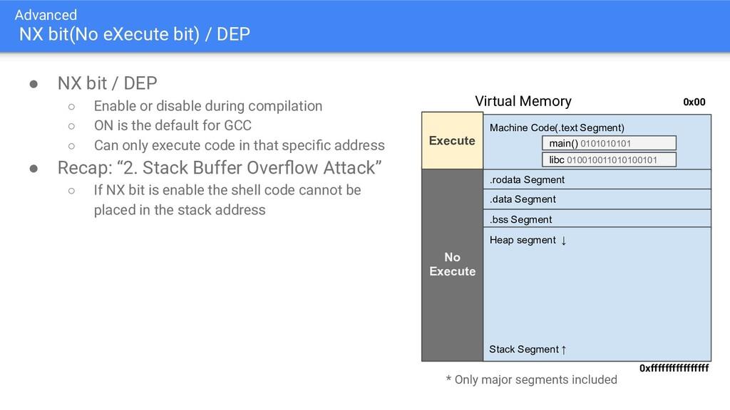 Advanced NX bit(No eXecute bit) / DEP ● NX bit ...
