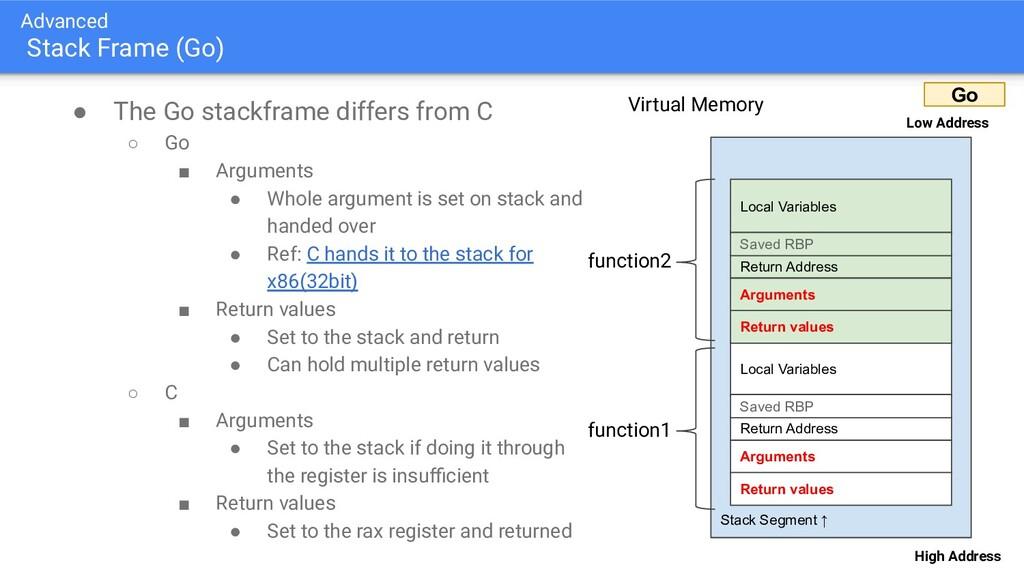 Advanced Stack Frame (Go) ● The Go stackframe d...