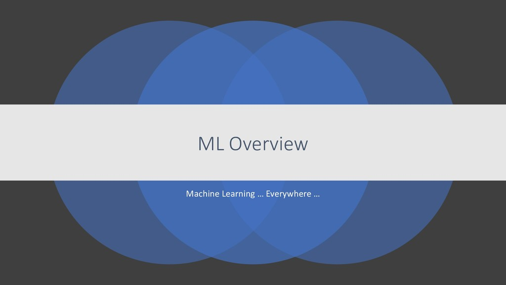 Machine Learning … Everywhere … ML Overview