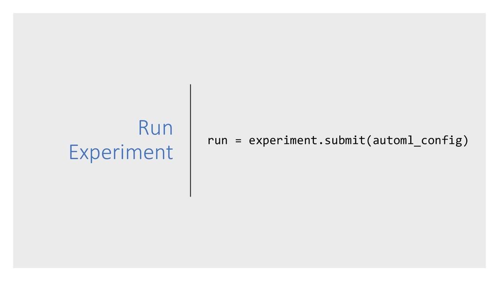 Run Experiment run = experiment.submit(automl_c...