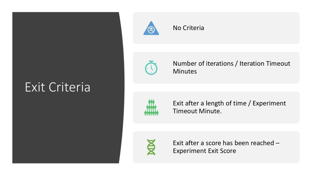 Exit Criteria No Criteria Number of iterations ...