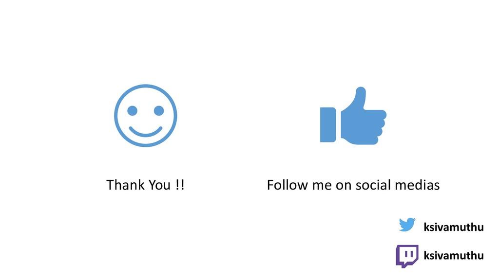 Thank You !! Follow me on social medias ksivamu...