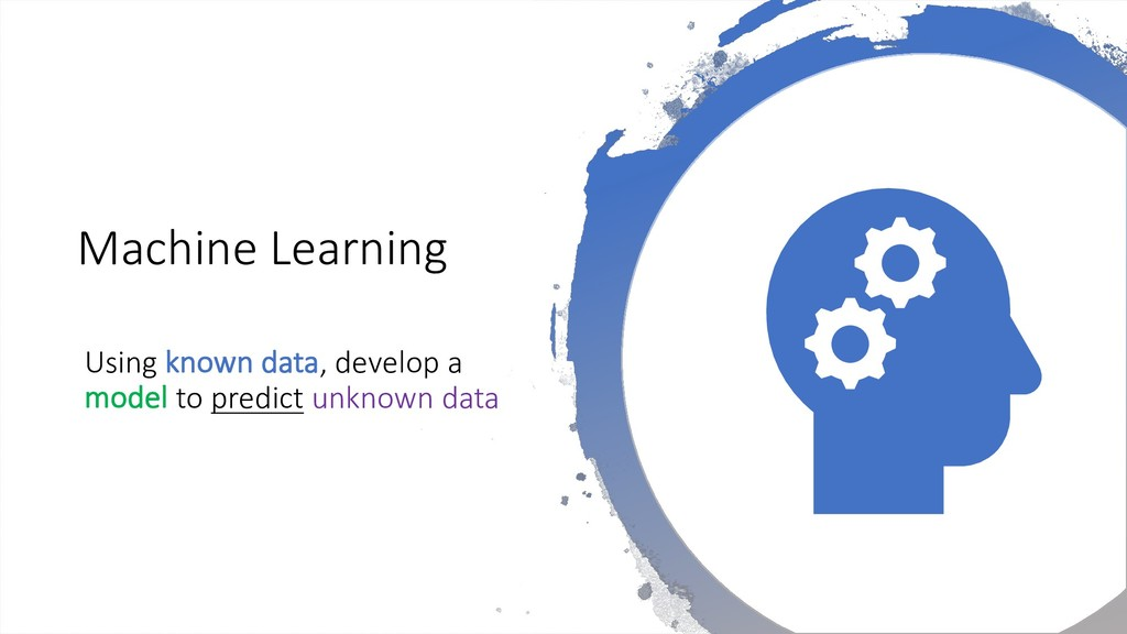Machine Learning Using known data, develop a mo...