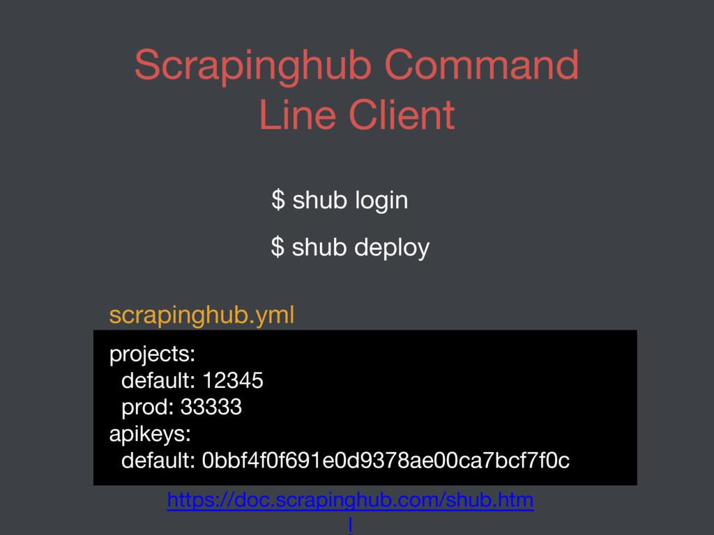 Scrapinghub Command Line Client $ shub login $ ...