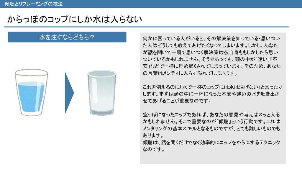 からっぽのコップにしか水は入らない 傾聴とリフレーミングの技法 何かに困っている人がいると、そ...