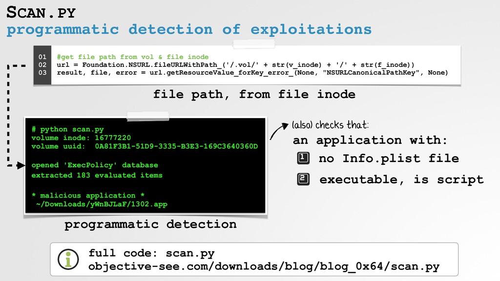 SCAN.PY programmatic detection of exploitations...