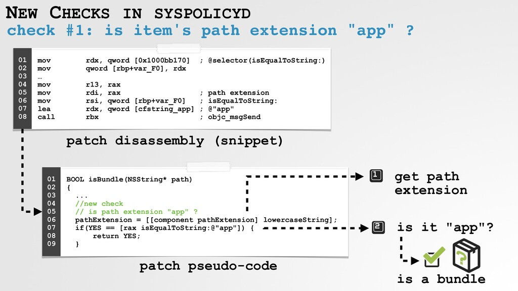 NEW CHECKS IN SYSPOLICYD check #1: is item's pa...