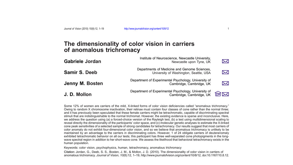 The dimensionality of color vision in carriers ...