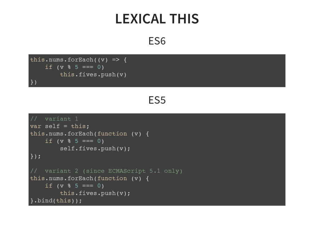 LEXICAL THIS ES6 this.nums.forEach((v) => { if ...