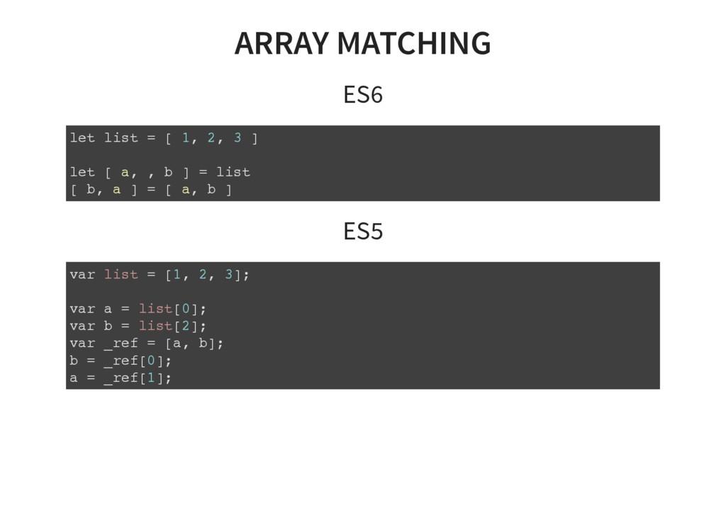 ARRAY MATCHING ES6 let list = [ 1, 2, 3 ] let [...