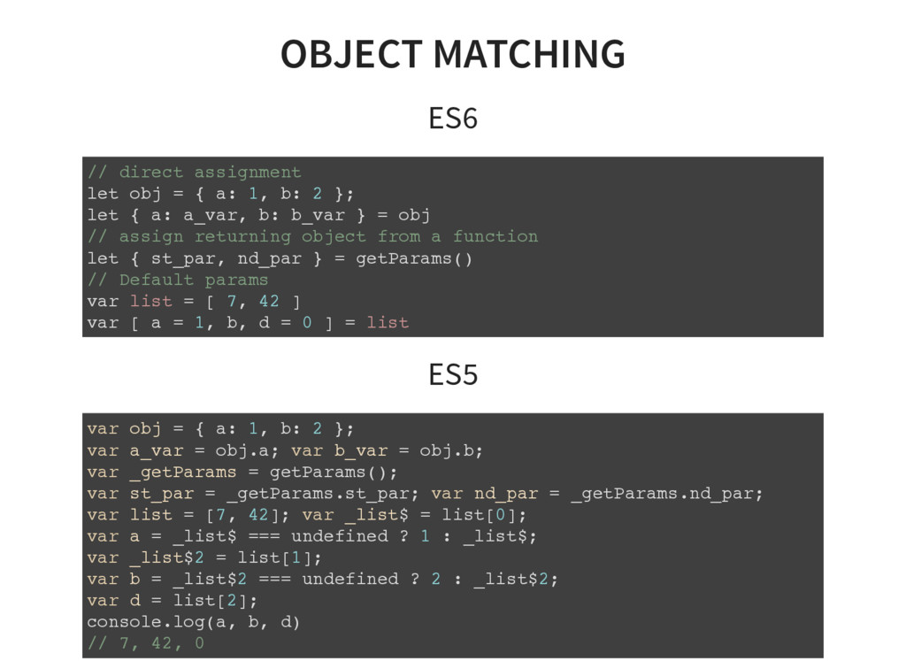 OBJECT MATCHING ES6 // direct assignment let ob...