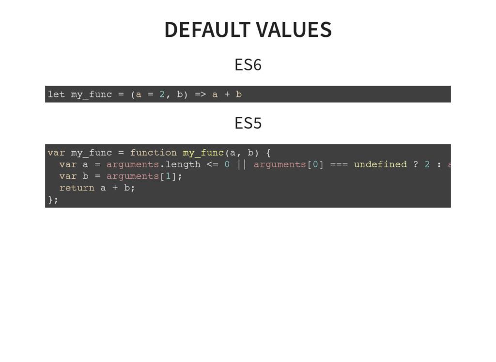 DEFAULT VALUES ES6 let my_func = (a = 2, b) => ...