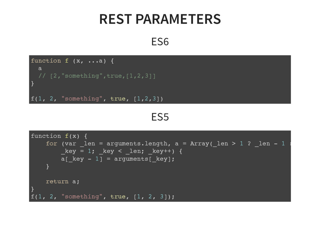 REST PARAMETERS ES6 function f (x, ...a) { a //...