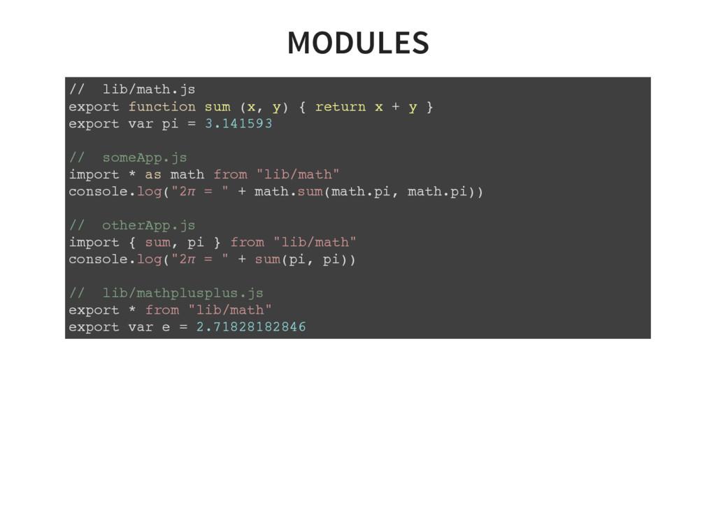 MODULES // lib/math.js export function sum (x, ...