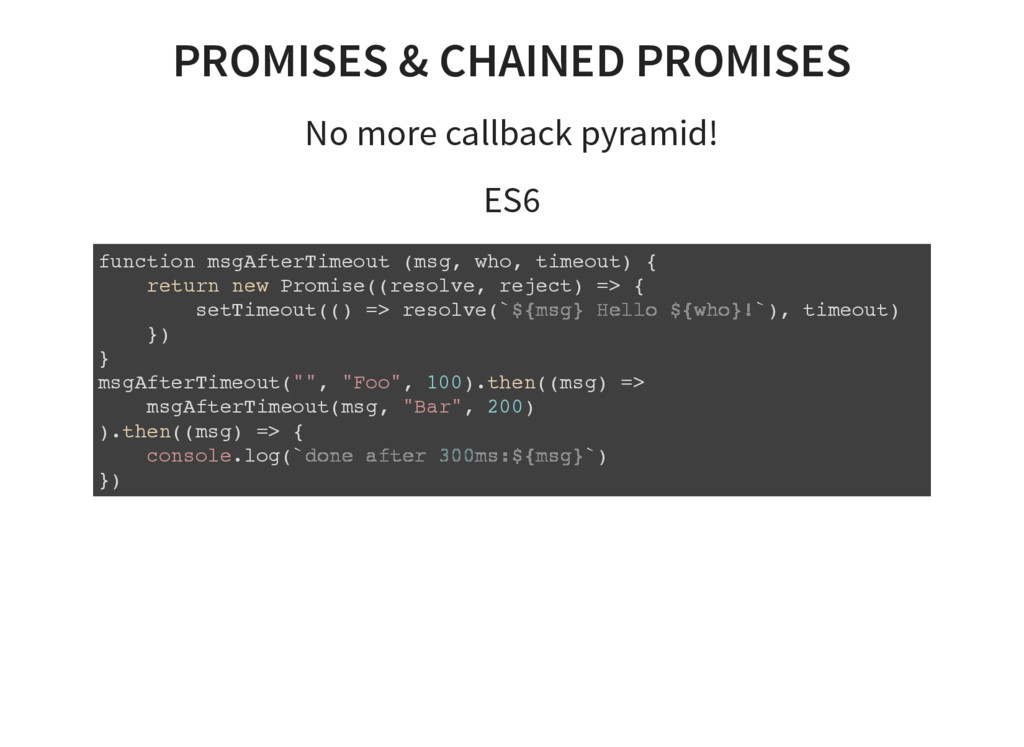 PROMISES & CHAINED PROMISES No more callback py...