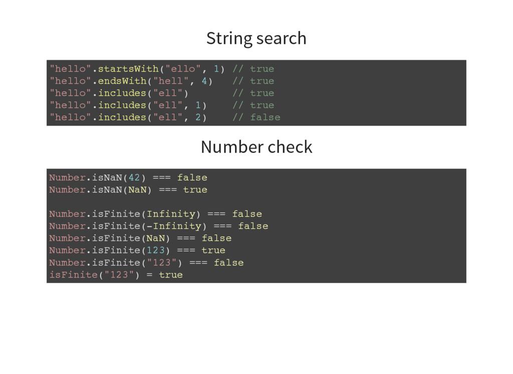 "String search ""hello"".startsWith(""ello"", 1) // ..."