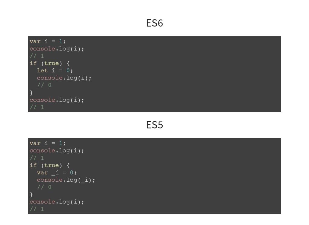 ES6 var i = 1; console.log(i); // 1 if (true) {...