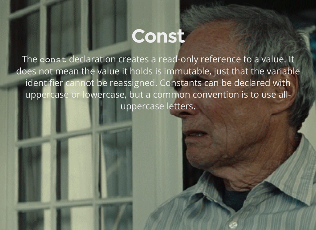 Const The const declaration creates a read-only...