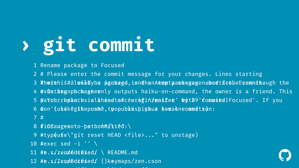 ! git commit › 1 2 # Please enter the commit me...