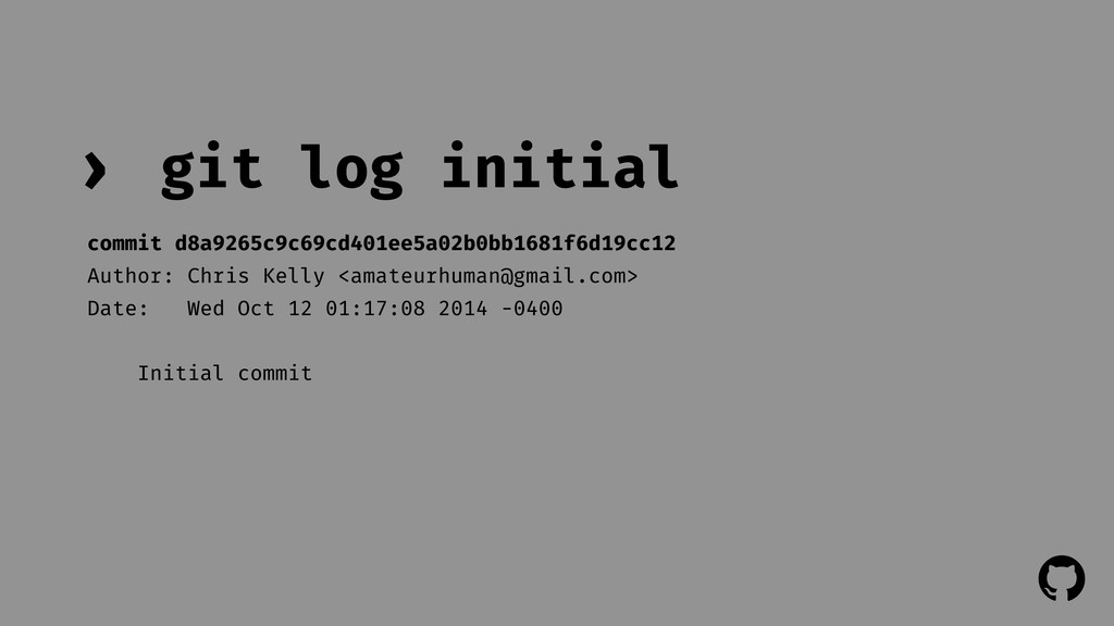 ! ! git log initial › commit d8a9265c9c69cd401e...