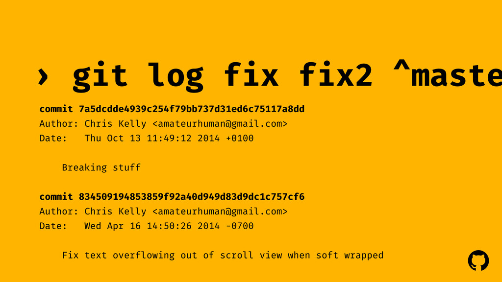 ! ! git log fix fix2 ^maste › commit 7a5dcdde49...