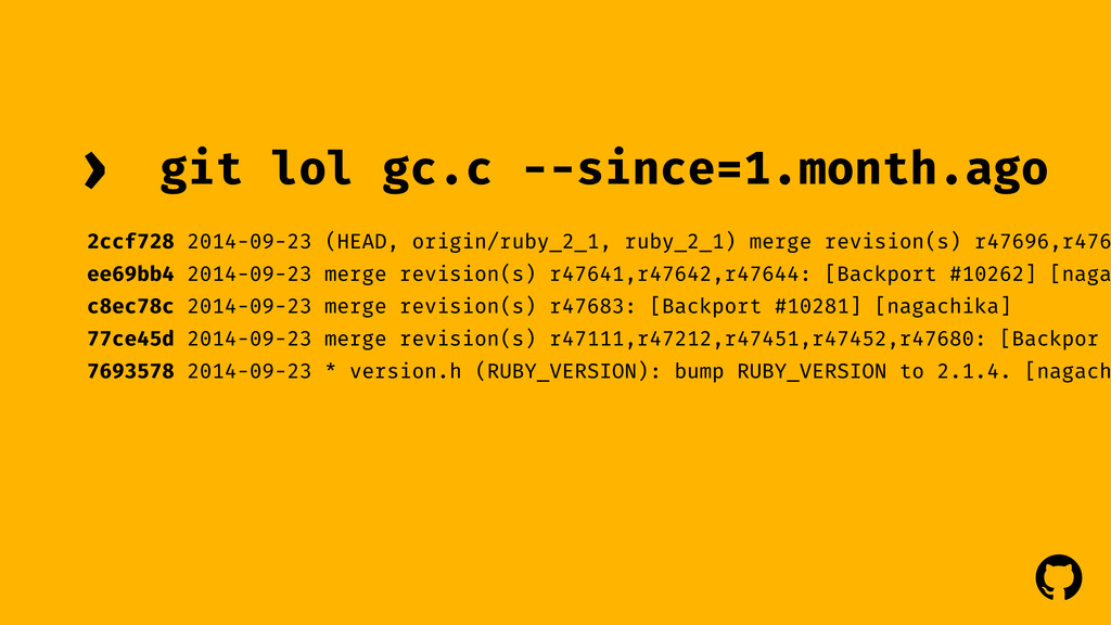 ! ! git lol gc.c --since=1.month.ago › 2ccf728 ...