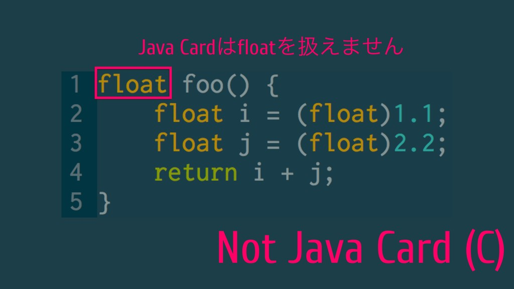 Not Java Card (C) Java CardfloatΛѻ͑·ͤΜ
