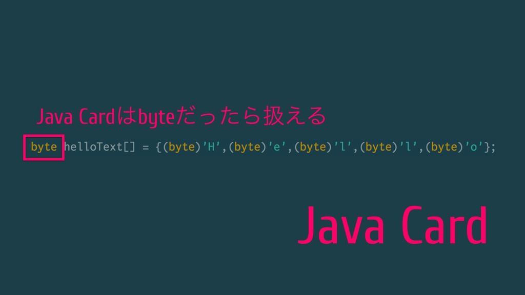 Java Card Java CardbyteͩͬͨΒѻ͑Δ