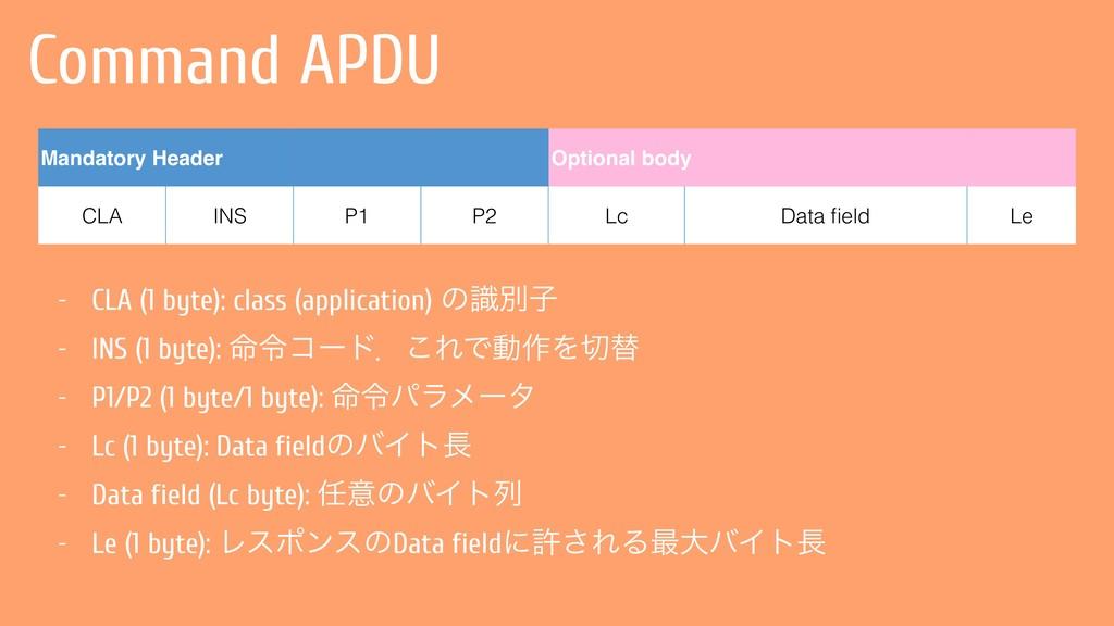 Command APDU Mandatory Header Optional body CLA...