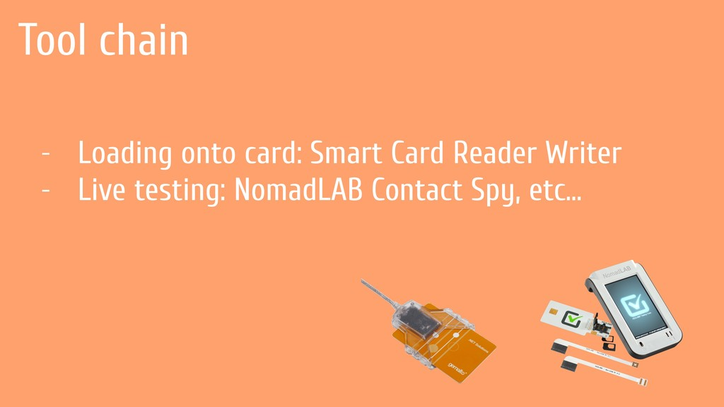 Tool chain - Loading onto card: Smart Card Read...