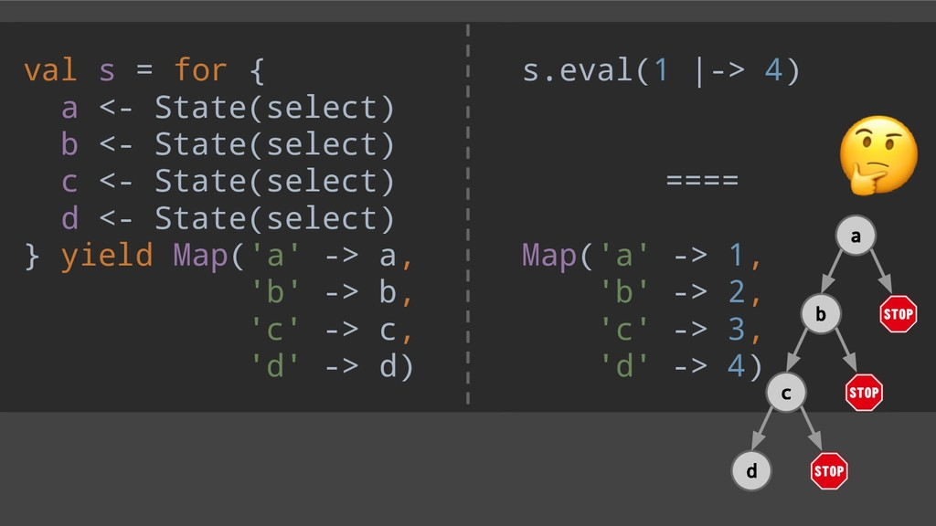 val s = for { a <- State(select) b <- State(sel...